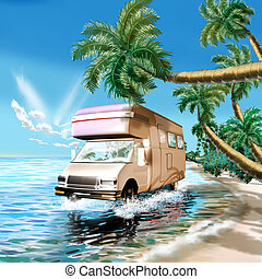 Camper on the ocean beach - 3d classic illustration, camper...