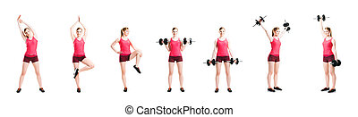 Fit, healthy and sporty woman in sportswear working out -...