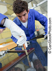 fastening a glass frame