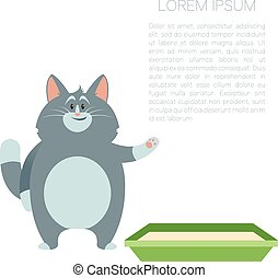 Happy Cat and its litter2 - Vector image of thebanner with...