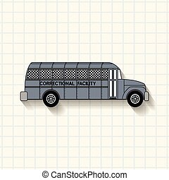 Correctional facility prison bus on mathematical squares...
