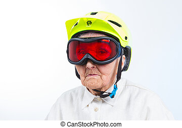 extreme grannie - funny grandma wearing a yellow bicycle...