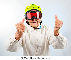 extreme grannie showing thumbs up - funny grandma wearing a...