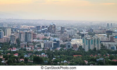 Night over the city. Panorama. Almaty, Kazakhstan