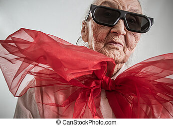very old lady with a red bow - stylish grandma with...