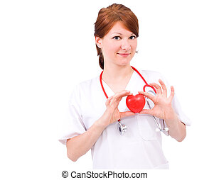 female doctor - young female cardiologic doctor with...