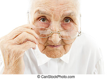 grandmother with glasses - portrait of a very old woman...