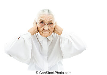 grandmother doesn't want to hear anything - old lady holding...