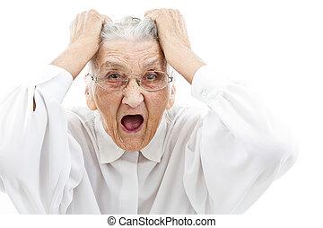 neurotic grandma - very old woman tearing her hair