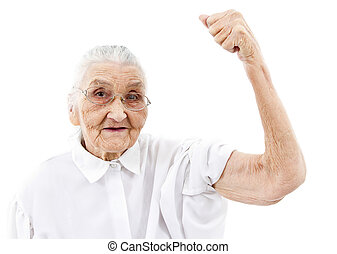 grandma does not gives up - very old woman showing her...