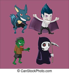 Halloween Characters Monsters Collection Set Vector