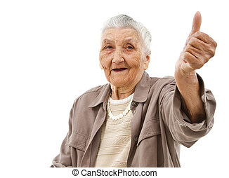 old lady with thumbs up - old lady showing thumbs up in...