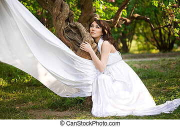 wonderful girl is in the fairy-tale forest