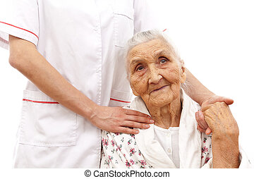 young doctor's helping hand for the elder ones - young...