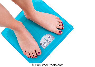 Weight Scale - Woman on weight scale on isolated background