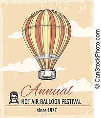 Annual festival of ballooning retro poster