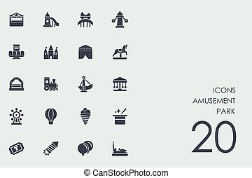 Set of amusement park icons