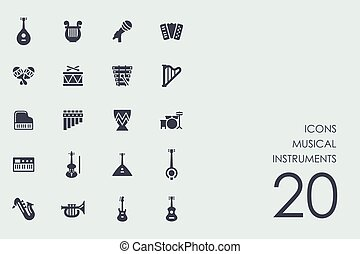 Set of musical instruments icons - musical instruments...