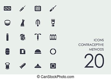 Set of contraceptive methods icons - contraceptive methods...