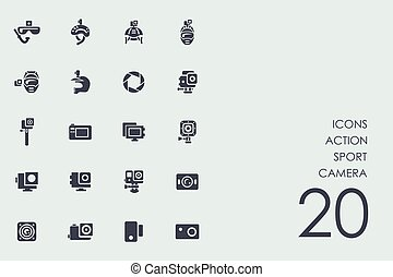 Set of action sport camera icons - action sport camera...