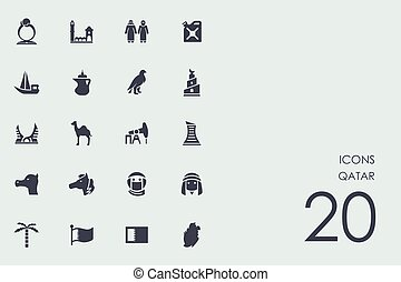 Set of Qatar icons - Qatar vector set of modern simple icons