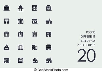 Set of different buildings and houses icons - different...