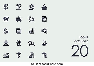 Set of produced overseas icons - produced overseas vector...