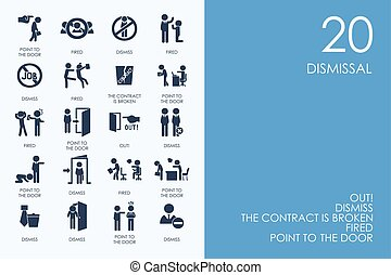 Set of dismissal icons - dismissal vector set of modern...
