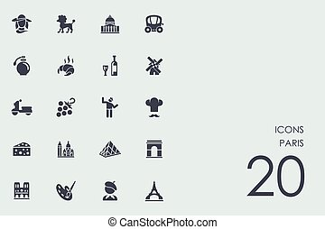 Set of Paris icons