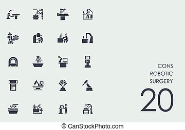 Set of robotic surgery icons - robotic surgery vector set of...