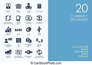 Set of currency exchange icons