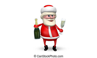 Santa Claus with Champagne - Animation Santa Claus with...
