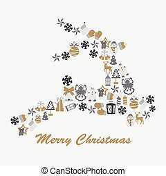 Stock vector christmas deer with decorative elements
