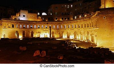 Ruins of Trajan's Market, Night. Rome, Italy. UltraHD (4K)
