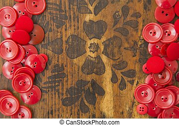 Handy craft text space - Red button frame leaving space for...