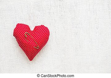 Pillow with copy space for text - Tiny heart shaped needle...