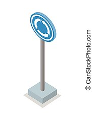 Roundabout Road Sign Vector Illustration. - Roundabout road...