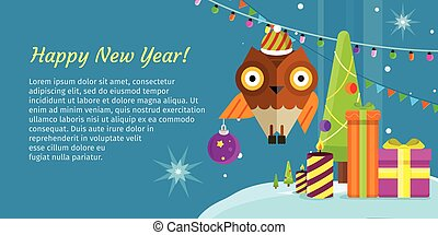 Merry Christmas Conceptual Flat Style Banner