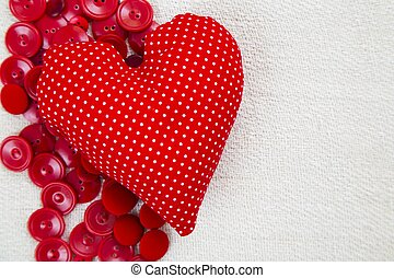 Heart and text space - Red heart shaped pillow missing text...