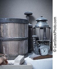 Still life - Different vintage objects on a table in a...