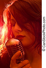 Girl with red lights, singing - Sexy singer with retro...