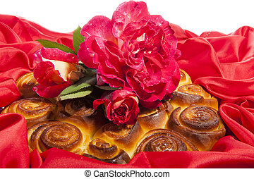 roses cake for mother day on  a fabric  background