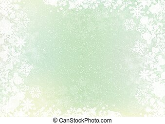 Green elegant winter background with snowflake border