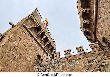 HDR Torres de Quart (meaning Quart towers) in Valencia -...
