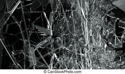Broken and damaged glass slow motion Alpha matteBroken and...
