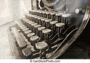 Typewriter vintage antique photography simulated. - Old...