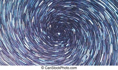 Stars draw a line in the sky. screw spiral. Zoom. Time Lpase