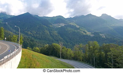 Road to the Olympic village in the mountains. Russia, Sochi....