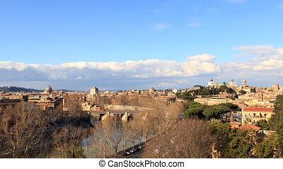 View from the Giardino degli Aranci. Zoom. Rome, Italy. Time...