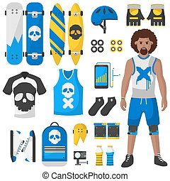 Skateboard equipment vector set illustration - Skateboard...